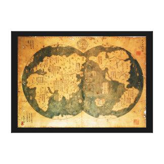 Mapa del mundo de 1418 chinos de Gavin Menzies Impresion De Lienzo