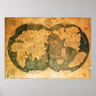 Mapa del mundo de 1418 chinos de Gavin Menzies Poster