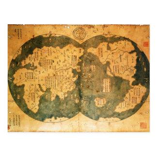 Mapa del mundo de 1418 chinos de Gavin Menzies Tarjeta Postal