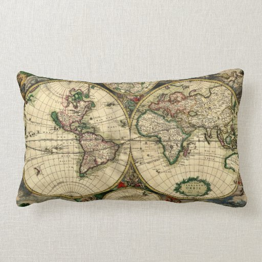 Mapa del mundo de 1689 regalos cojin