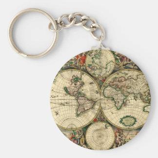 Mapa del mundo de 1689 regalos llavero redondo tipo pin