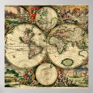 Mapa del mundo de 1689 regalos posters