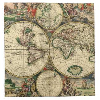 Mapa del mundo de 1689 regalos servilleta