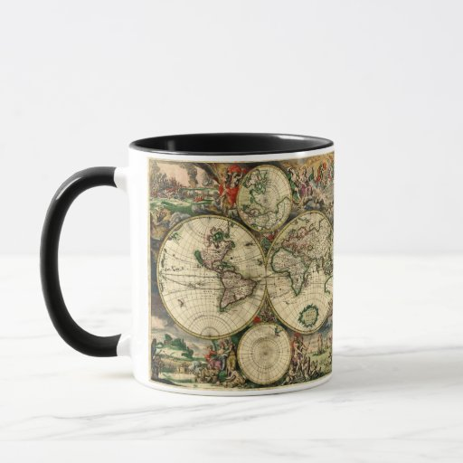 Mapa del mundo de 1689 regalos taza