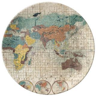 Mapa del mundo de 1853 japoneses de Suido Nakajima Platos De Cerámica