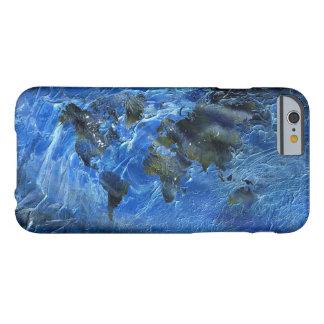 Mapa del mundo de acrílico azul de Swirly Funda Para iPhone 6 Barely There