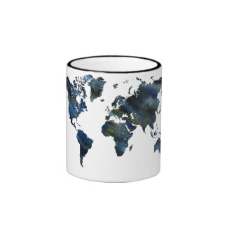 Mapa del mundo de acrílico azul de Swirly Taza De Dos Colores