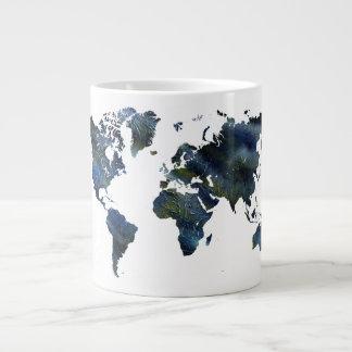 Mapa del mundo de acrílico azul de Swirly Taza Extra Grande