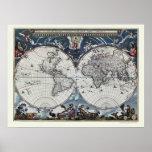 Mapa del mundo de Joan Blaeu - 1664 Poster