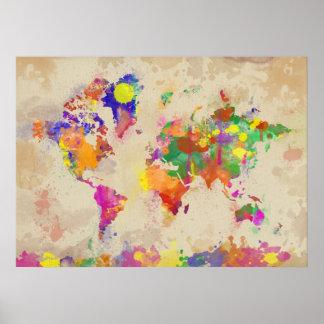 Mapa del mundo de la acuarela en vieja lona póster