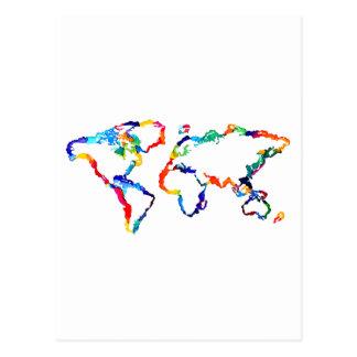 Mapa del mundo de la acuarela postales