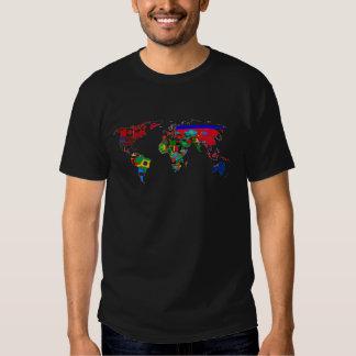 ¡Mapa del mundo de la camiseta de las banderas de Playera