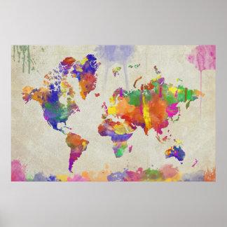 Mapa del mundo de la impresión de la acuarela póster