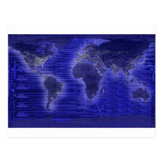 mapa del mundo de la luz eléctrica postales