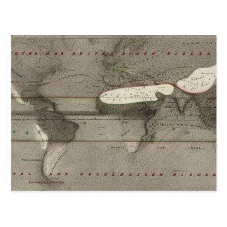 Mapa del mundo de la precipitación postal