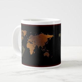 mapa del mundo de la Rústico-mirada en el cuenco Taza Grande