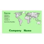 Mapa del mundo de la verde lima tarjeta de visita