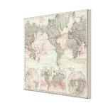 Mapa del mundo de las corrientes de océano impresiones en lienzo estiradas