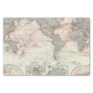 Mapa del mundo de las corrientes de océano papel de seda pequeño