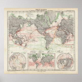 Mapa del mundo de las corrientes de océano póster