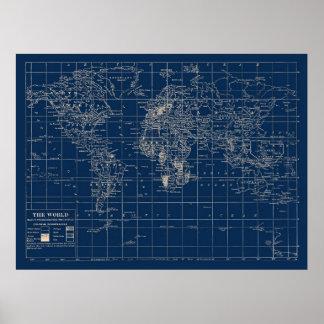 Mapa del mundo de los azules marinos póster
