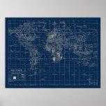 Mapa del mundo de los azules marinos posters