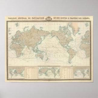 Mapa del mundo de los canales de envío posters