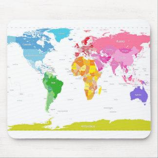 Mapa del mundo de los continentes alfombrilla de ratón