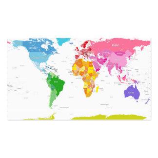 Mapa del mundo de los continentes tarjetas de visita