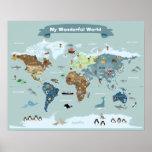 Mapa del mundo de los niños con las imágenes y los póster