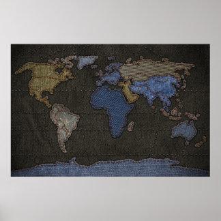 Mapa del mundo de los vaqueros (ningunas etiquetas póster
