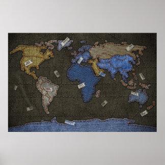 Mapa del mundo de los vaqueros poster