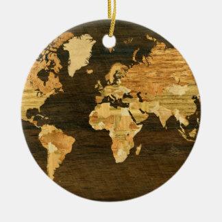 Mapa del mundo de madera adorno navideño redondo de cerámica