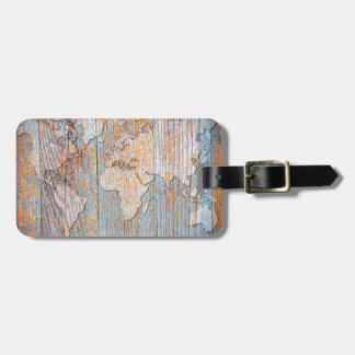 Mapa del mundo de madera artístico etiqueta para maleta