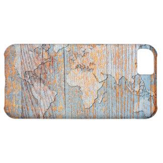 Mapa del mundo de madera artístico funda para iPhone 5C