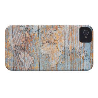 Mapa del mundo de madera artístico iPhone 4 protectores