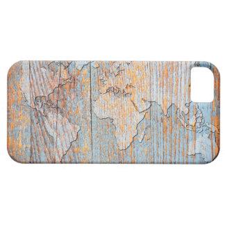 Mapa del mundo de madera artístico iPhone 5 funda