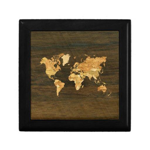 Mapa del mundo de madera caja de recuerdo