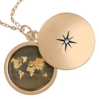 Mapa del mundo de madera medallón