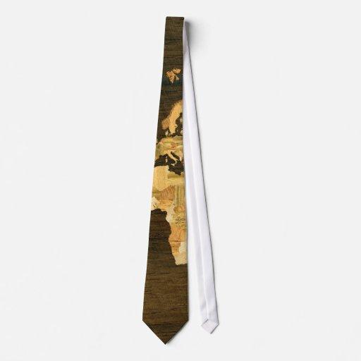 Mapa del mundo de madera corbatas