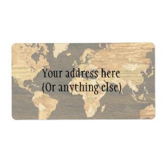 Mapa del mundo de madera etiqueta de envío