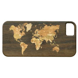 Mapa del mundo de madera iPhone 5 funda