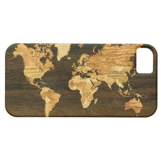 Mapa del mundo de madera iPhone 5 Case-Mate carcasa