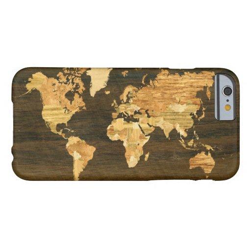 Mapa del mundo de madera funda de iPhone 6 barely there
