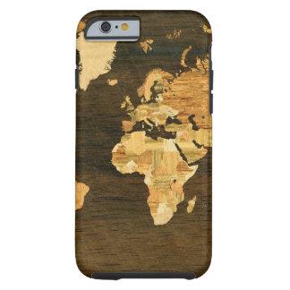 Mapa del mundo de madera funda de iPhone 6 tough