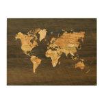 Mapa del mundo de madera impresiones en madera