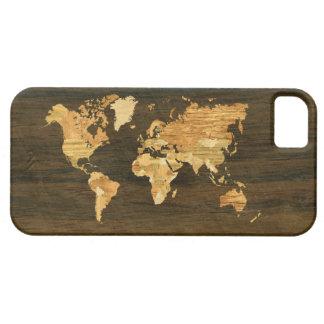 Mapa del mundo de madera iPhone 5 carcasa