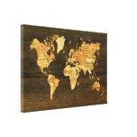 Mapa del mundo de madera lona estirada galerias