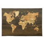 Mapa del mundo de madera mantel individual