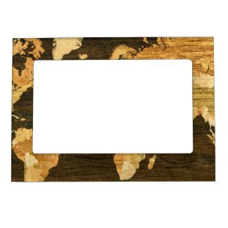 Mapa del mundo de madera marcos magnéticos